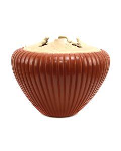 "Alvina Yepa (b. 1954) - Jemez Contemporary Carved Redware Jar with Carved Cornstalk Design, 7.75"" x 9.5"" (P90356B-0221-003)"