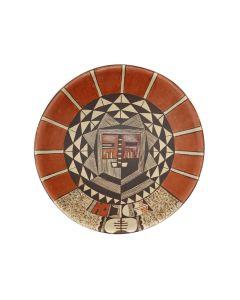"Dextra Quotskuyva Nampeyo (1928-2019) - Hopi Polychrome Plate with Kachina Pictorial c. 1990s, 1.75"" x 6.375"" (P90433A-0621-002)"