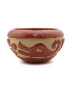 "Mary Cain (1915-2010) - Santa Clara Redware Bowl with Carved Avanyu Design c. 1970s, 3"" x 6"" (P90472-0911-004)"