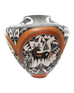 "Adrian Trujillo - Acoma Monumental Jar with Heartline Bear, Deer, and Other Animal Designs c. 1991, 22"" x 22"""