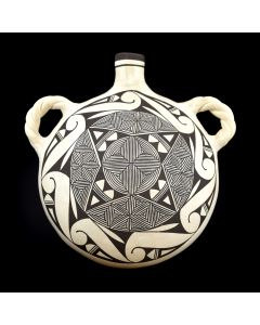 "Acoma Fine Line Canteen c. 1980s, 7"" x 9.5"" x 9.5"""
