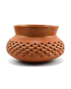 "Garnet Pavatea - Hopi Redware Corrugated Jar c. 1960s, 3.5"" x 5.5"""
