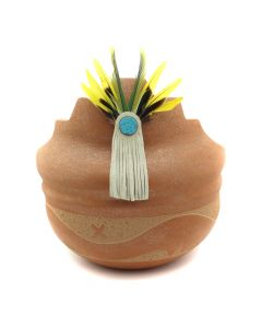"Johnny Tse-Pe Gonzales (b. 1940) - San Ildefonso Micaceous Kiva Step Bowl with Turquoise Inclusions, Leather, Feathers, and Carved Avanyu Design, 10"" x 9.75"" (P91109-086-108)"