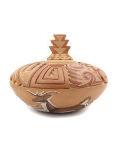"Grace Medicine Flower (b. 1938) - Santa Clara Polychrome Lidded Carved Jar with Deer Pictorials c. 1980-90s, 6"" x 7"" (P91138A-0120-024)"