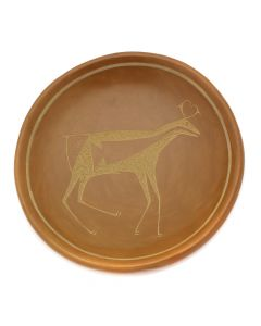 "Tony Da (1940-2008) - San Ildefonso Sienna Sgraffito Plate with Heartline Deer Design c. 1970s, 1.25"" x 7"" (P91138A-0120-049)"