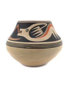 "Maria Martinez (1887-1980) and Popovi Da (1922-1971) - San Ildefonso Polychrome Olla with Avanyu Design c. 1956-60, 7.5"" x 9.5"" (P91138A-0120-051)"