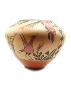 "Eleanor Pino Griego (b. 1953) - Zia Polychrome Olla with Bird Designs, 14.5"" x 16.5"" (P91138A-0120-064)"