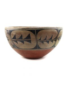 "Santo Domingo Polychrome Dough Bowl c. 1930s, 8"" x 15"" (P91256-086-105)"