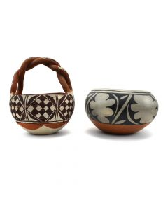 Pair of Isleta and Lucy R. Suina (1921-2002) Cochiti Pots