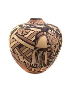 "Gary Polacca Nampeyo (b. 1955) - Hopi Contemporary Polychrome Vase with Carved Kachina Pictorials, 11"" x 10"" (P91369B-0321-018)"