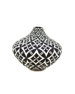 "Dorothy Torivio (1946-2011) - Acoma Contemporary Seed Jar with Geometric Design, 2.75"" x 3.25"" (P91369B-0321-035)"