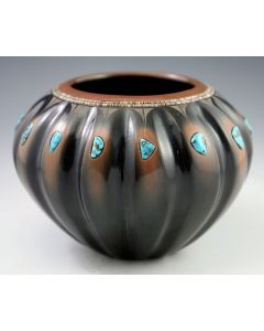 SOLD Tony Da (1940-2008) - San Ildefonso Black and Sienna Melon Bowl with Sgraffito and Blue Gem and Morenci Turquoise Stones and Heishi