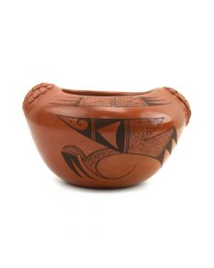 "Fawn Garcia Navasie (b. 1959) - Hopi Jar with Raised Corn Design c. 1990s, 2.5"" x 4.25"" x 4"""