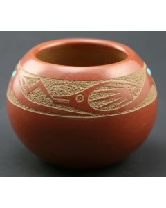 SOLD Tony Da (1940-2008) - San Ildefonso Small Buff and Red Incised Avanyu Pot with Turquoise