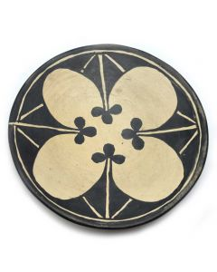 "Santo Domingo Polychrome Plate with Flower Design c. 1920s, 2.5"" x 13"" (P91950B-1110-044)"