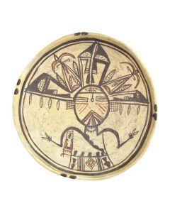 "Hopi Polychrome Bowl with Palhik Mana Kachina Design c. 1880-90s, 2.75"" x 9"""