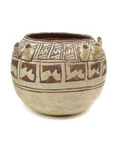 "Zuni Jar with Hooks and Geometric Design c. 1920s, 6"" x 7"" (P91950B-0413-015)"