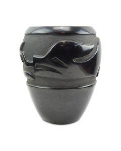 """Teresita Naranjo - Santa Clara Black Carved Avanyu Jar c. 1950-60s, 6.25"""" x 5.25"""""""