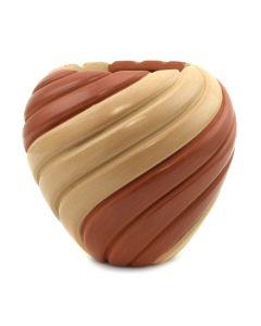 "Marcella Yepa - Jemez Two-Tone Melon Swirl Jar c. 2002, 4"" x 4"""