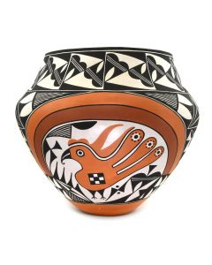 "Adrian Trujillo - Acoma Polychrome Jar with Bird Design c. 1991, 11.75"" x 13"""