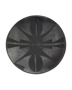 "Maria Martinez (1887-1980) and Popovi Da (1922-1971) - San Ildefonso Black on Black Plate c. 1950s, 5"" diameter"