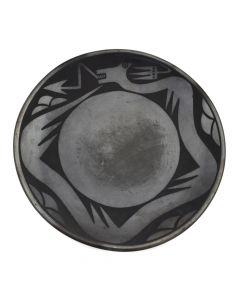 "Santana Martinez (1909-2002) and Adam Martinez (1903-2000) - San Ildefonso Black on Black Avanyu Plate c. 1950-60s, 11.75"" diameter"
