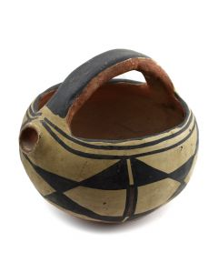 "Santo Domingo Polychrome Jar with Handle c. 1890s, 5.75"" x 5.5"""
