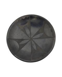 "Santana Martinez (1909-2002) and Adam Martinez (1903-2000) - San Ildefonso Black on Black Plate with Geometric Design, c. 1960-70s, 1"" x 5.5"" (P92017A-0620-002)"