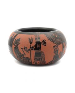 "Tom Tapia - San Juan Black and Sienna Sgraffito Jar with Native American Motifs c. 1980s, 2.75"" x 5"" (P92017A-0620-003)"