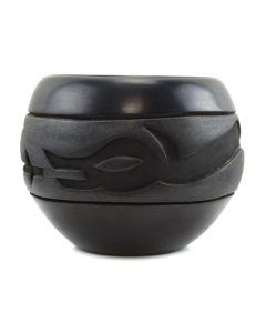 """Santa Clara Black Carved Avanyu Jar c. 1980s, 5.5"""" x 6.5"""""""