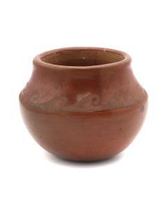 "Santana Martinez (1909-2002) - San Ildefonso Redware Jar with Wave Design c. 1960s, 2.25"" x 2.75"" (P92210-046-017)"
