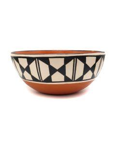 """Anna Marie Lovato - Santo Domingo (Kewa) Contemporary Polychrome Chili Bowl, 3.625"""" x 8.375"""" (P92323A-1020-019)"""