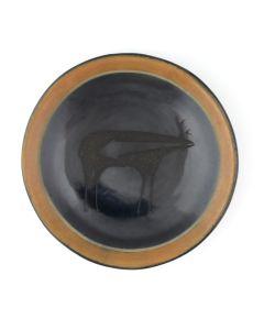 "Tony Da (1940-2008) - San Ildefonso Black and Sienna Plate with Heartline Deer Design c. 1970s, 1.375"" x 6.25"" (P92348A-0621-058)"