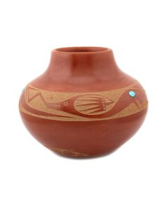 """Tony Da (1940-2008) - San Ildefonso Redware Jar with Turquoise Inclusions and Carved Avanyu Design c. 1960s, 5.75"""" x 6.5"""" (P92348A-0621-063)"""