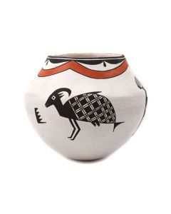 """Emma Lewis (1931-2013) - Acoma Polychrome Jar with Deer and Fish Pictorials c. 1960-70s, 5.25"""" x 5.75"""" (P92348A-0621-087)"""