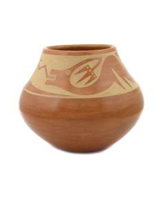 "Maria Martinez (1887-1980) and Popovi Da (1922-1971) - San Ildefonso Sienna Jar with Carved Avanyu Design c. 1964, 5.5"" x 6.25"" (P92348A-0621-099)"