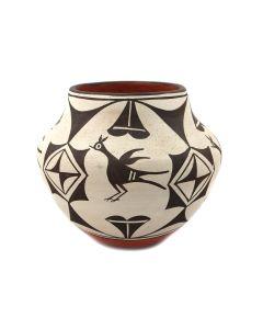 """Sofia Medina (1932-2010) - Zia Jar with Rainbird Pictorials c. 1960-70s, 7.25"""" x 8.5"""" (P92348A-0621-104)"""
