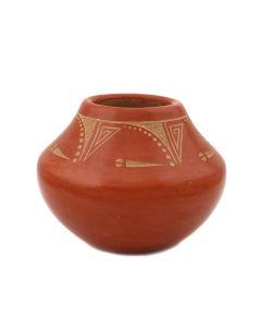 "Tony Da (1940-2008) - San Ildefonso Redware Jar with Incised Design c. 1980s, 3.25"" x 4"" (P92348A-0621-144)"