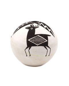"""Lucy Lewis (1890/98-1992) - Acoma Seed Jar with Deer Pictorial c. 1960-70s, 4"""" x 3.75"""" (P92348A-0621-148)"""