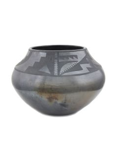 "Maria Martinez (1887-1980) - San Ildefonso Black on Black Jar c. 1920s, 6.25"" x 9"" (P92348A-0621-150)"