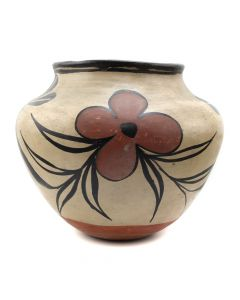 "Santo Domingo Jar with Floral Design c. 1920s, 9.5"" x 10.75"" (P92431-0610-260)"