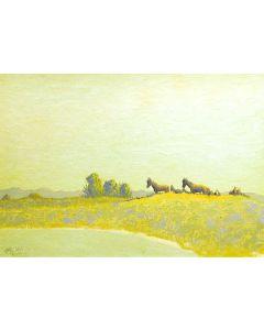 SOLD Jack Van Ryder (1899-1968) - Horses on Mesa