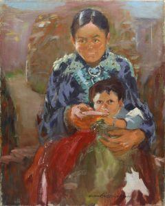 Odon Hullenkremer (1888-1978) - Navajo Mother Feeding Child