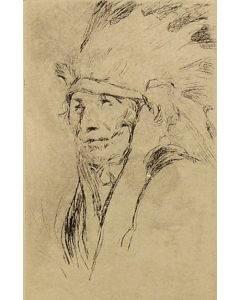 SOLD Gerald Cassidy (1879-1934) - Indian with War Bonnet