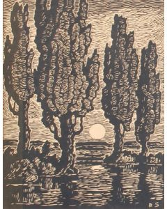 SOLD Birger Sandzen (1871-1954) - Poplars at Moonrise