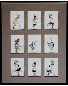 SOLD J. D. Roybal (1922-1978) - Set of Nine Original Careds of Various Pueblo Dancers