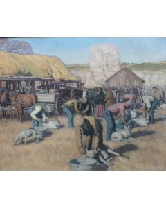 SOLD E. Martin Hennings (1886-1956) - Shearing Sheep at Los Cordovas