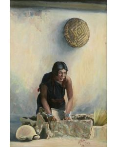 SOLD Joseph Roy Willis (1876-1960) - Hopi Woman Grinding Corn