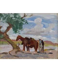 Mary-Russell Ferrell Colton (1889-1971) - Horses by Little Colorado