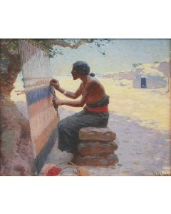 SOLD W. R. Leigh (1866-1955)- Navajo Blanket Weaver